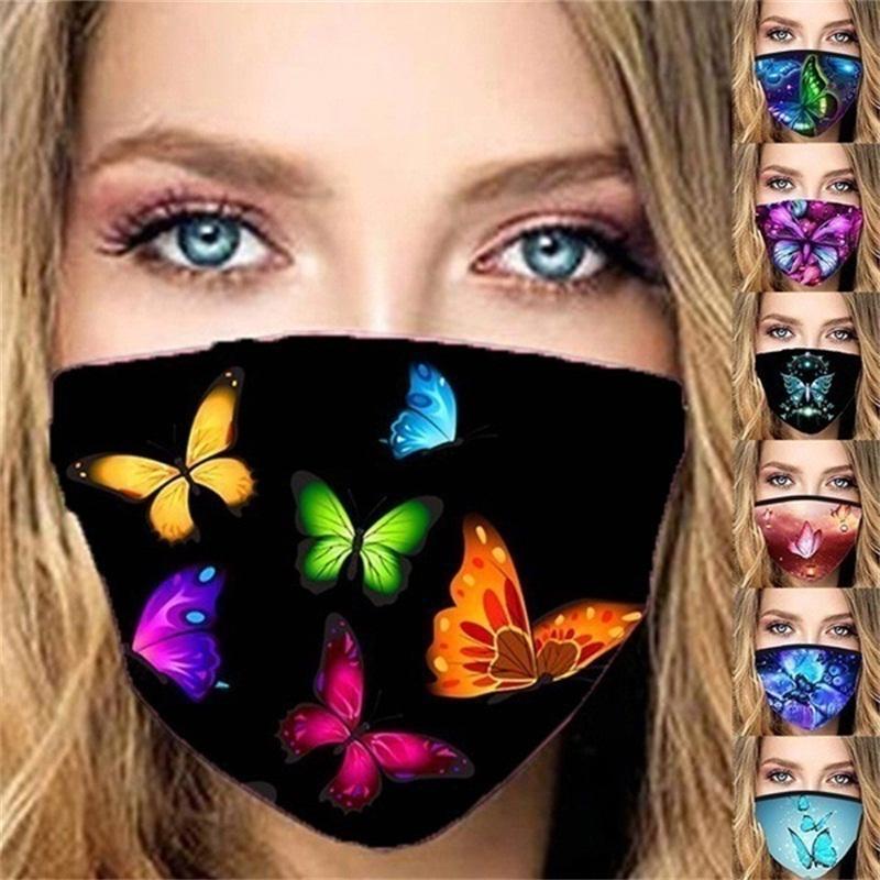 3D Schmetterling Gesichtsmaske Staubdichtes Mundmasken Druck Iced Silk Respirator Frau Schutz waschbare Art und Weise Neue Ankunft