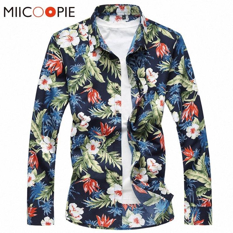 2020 2020 manica lunga estate Pulsante Camisa Hawaiana Hombre Giù Hawaii Printting floreale da uomo Business Party Beach camicette Top C7pR #