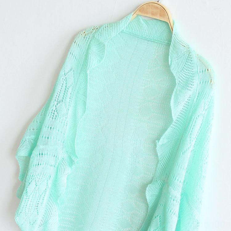 vFLfn Frühjahr / Sommer koreanischer bolero dünnen Mantel Hemd stricke shan Flügelhülse airable Shirt Reißzahn shai lässige Hohlmantelwolljacke
