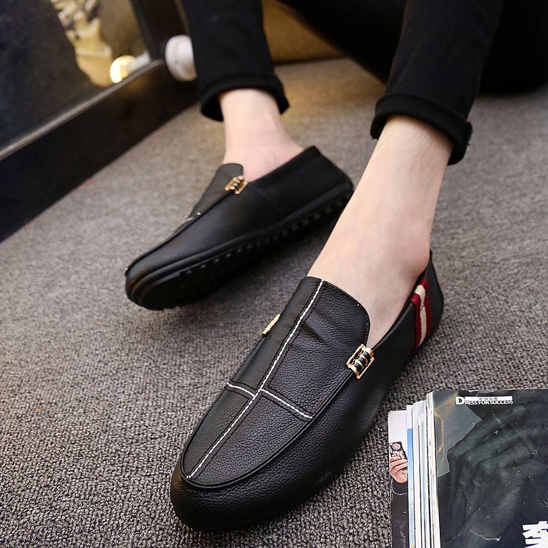 Siyah Sürüş Ayakkabı üzerinde Gerçek Deri Erkek Günlük Ayakkabılar İtalyan Erkekler Loafers Makosenler Nefes Kayma