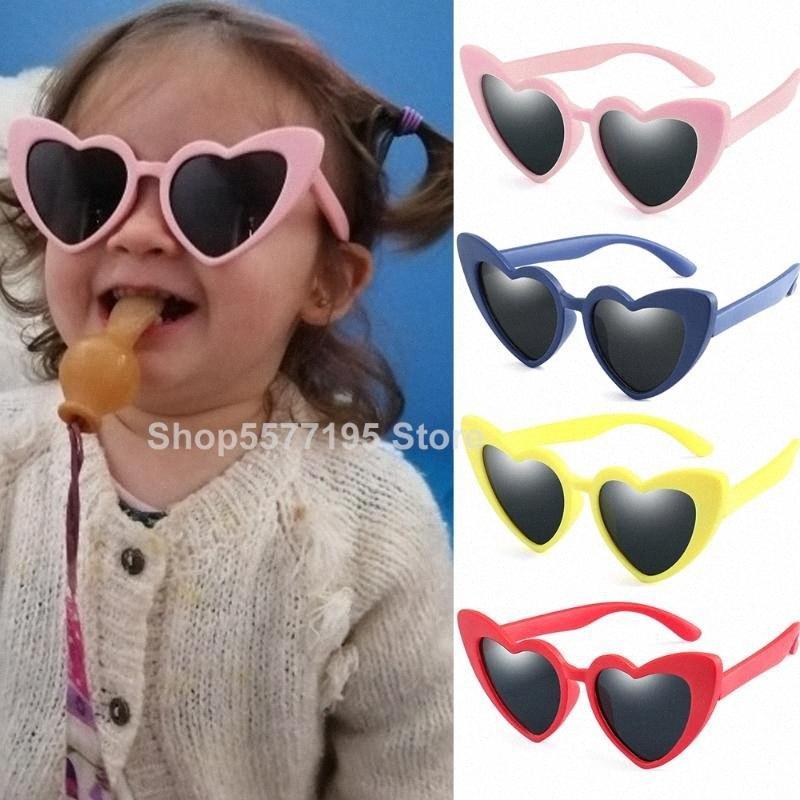 2020 2020 Новые детские очки детские Поляризованные солнцезащитные очки сердце любовь Мальчики Девочки Очки Детские Flexible безопасности Кадр очки 4mWF #