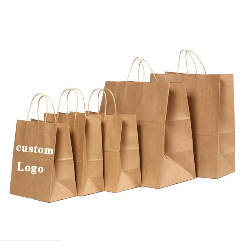 Custom LOGO Kraft Paper Shopping Bag tote bags Carry Pouch Gift Bag storage case for clothing take-away festival 6 sizes