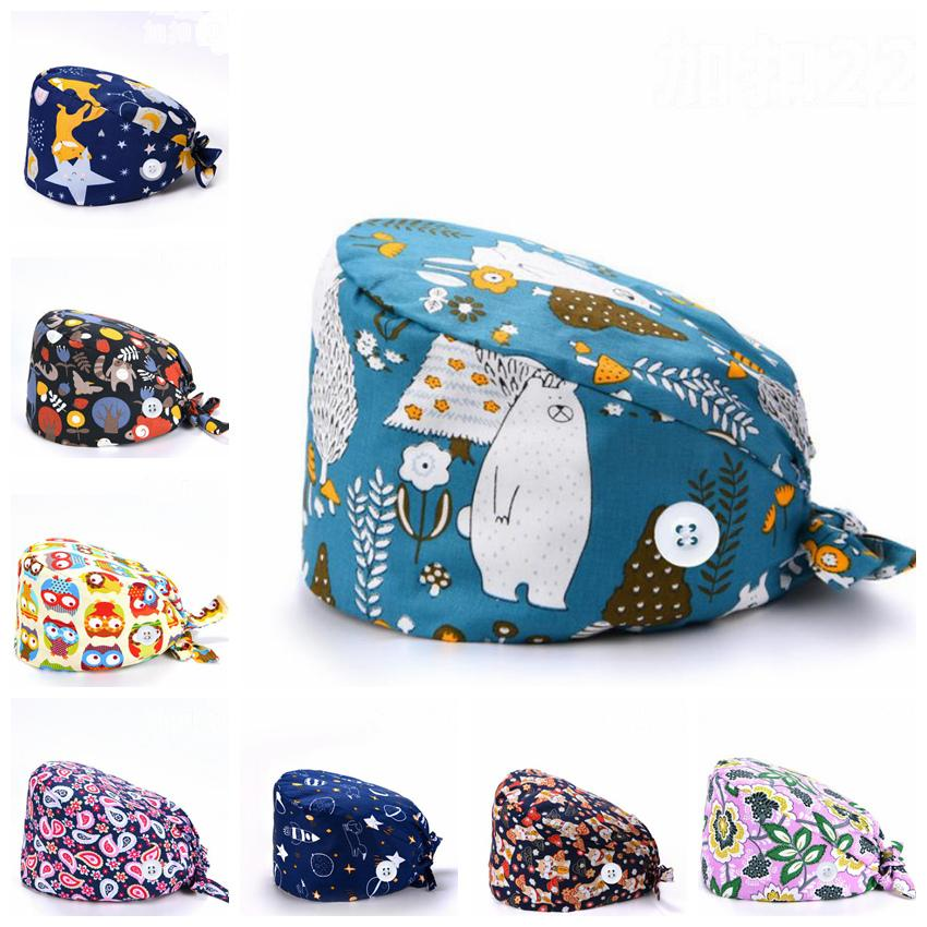 Button Scrub Cap Cartoon Nurse's Hats Big Girls Work Hat Adjustable Doctor Bouffant Hats Sweatband Tie Back Headwear 29 Designs DW5608