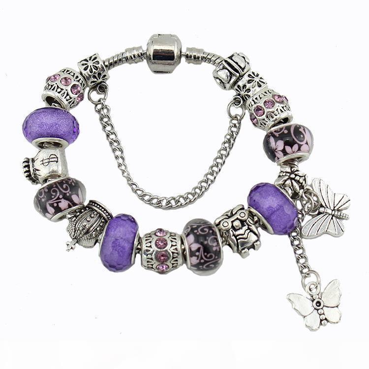 H pulsera de plata del encanto 925 pulseras para las mujeres Royal Crown Cuentas de la mariposa y del búho y de la flor encantos de la joyería DIY del regalo de Navidad