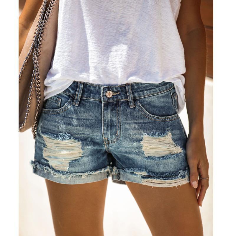 الصيف أزياء نسائية عالية الخصر السراويل الجينز الأزرق جينز ممزق السراويل