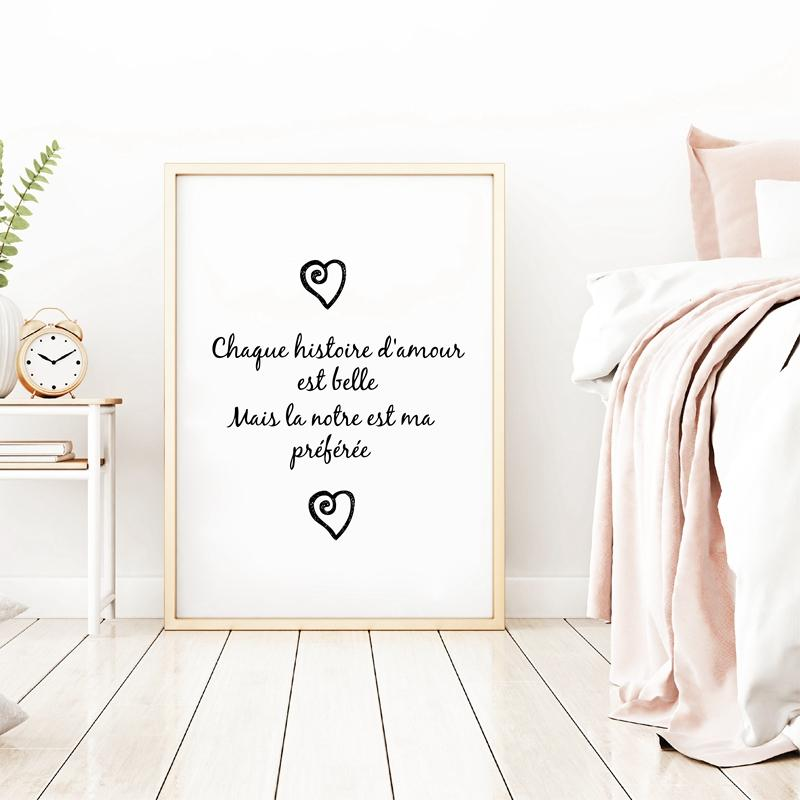 French Version Chaque Histoire D'amour Canvas Painting Wall Art Poster , Love Canvas Prints French Bedroom Romantic Wall Decor