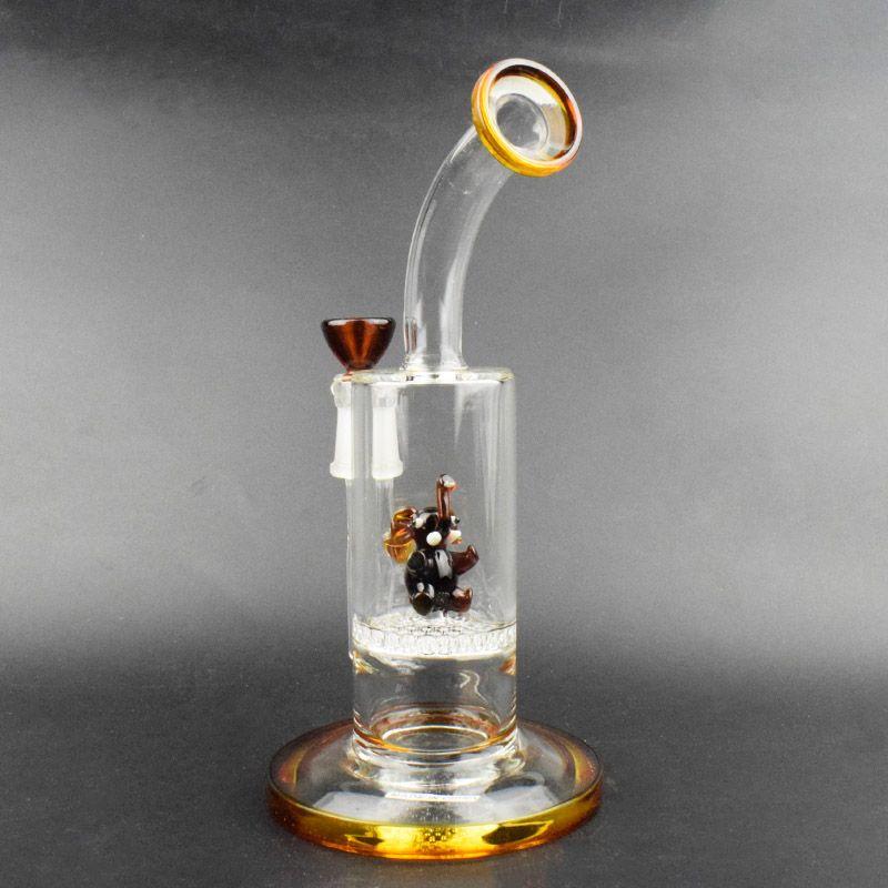 New bangs en verre de style pipe à eau en verre une couche en nid d'abeilles avec des animaux pour fumer 9 pouces