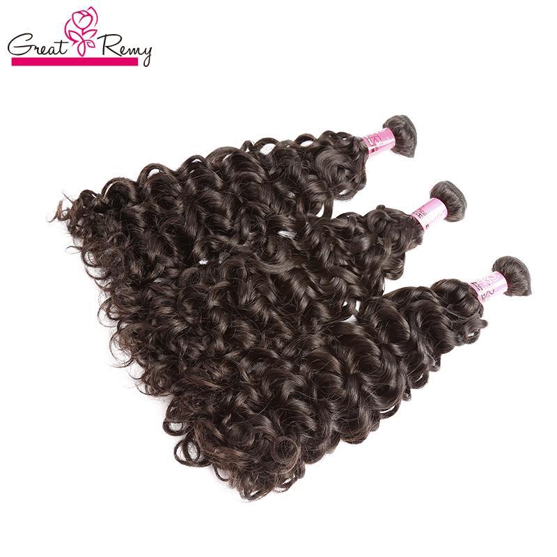 Greatremy® 3pcs / lot brasilianische indische Malaysian Rohboden Menschenhaar-einschlag Wasser Welle Bleichbare Haar-Verlängerung Virign Haarbündel