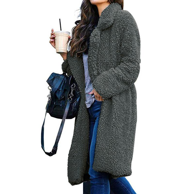 women's woolen long coat winter warm turn down collar fashion high street autumn outer clothes for ladies faux fur jackets girls