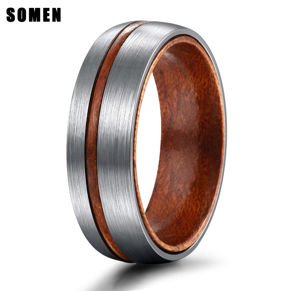 6mm Silver Color Vintage Style Wood Groove Wood Inner Design Titanium Ring For Women Matte Fashion Wedding Bands anillos mujer CX200724