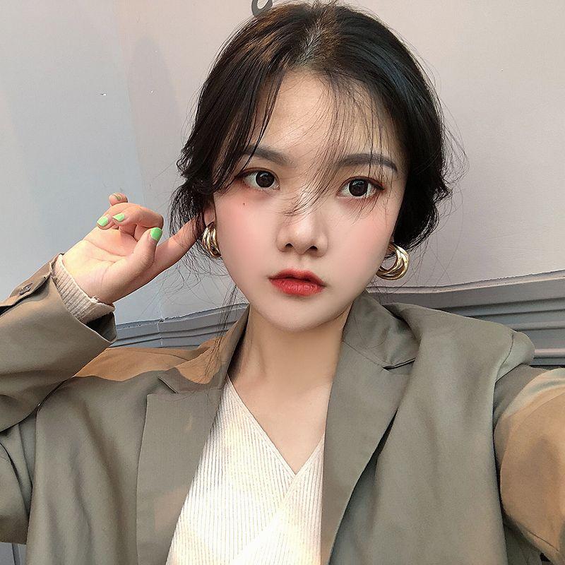 Kadınların geometri altın gümüş rengi sevimli damızlık için Kore metal basit büyük çember erarings moda takı küpe 2020 toptan