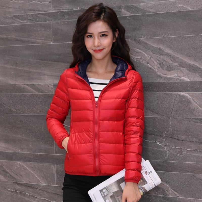 chapéu 1vAY0 New jacketWinter jaqueta jaqueta curta de mulheres de grande porte ultra fino estilo coreano chapéu do inverno desgaste fino dois lados pato branco dow