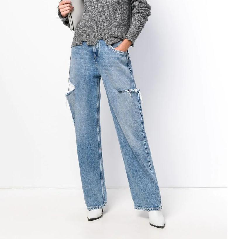 2020SS Totême Mulheres Waisted rasgado de ganga para mulheres Calças Plus Size Skinny Jeans Denim Boyfriend Lace Magro estiramento Buracos Pencil Calças Saco