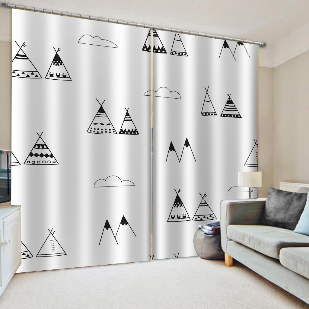 Пользовательские простой черно-белые шторы 3D Blackout шторы для гостиной Постельные принадлежности комната Drapes Cotinas пункт Сала