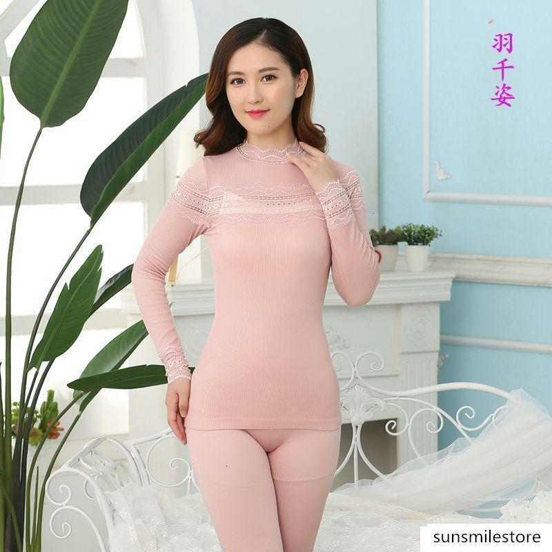 Dantel yaka dikişsiz vücut güzellik sonbahar Qiu Ku kadın termal iç çamaşırı seti tabanı gömlek giysi