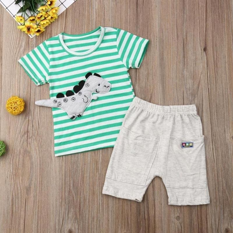 2020 2020 Yaz Çocuk Giyim Çocuk Giyim Boys Dinozor Giyim QNY1 # ayarlar Şort Pantolon Giyim + Boys T Shirt ayarlar