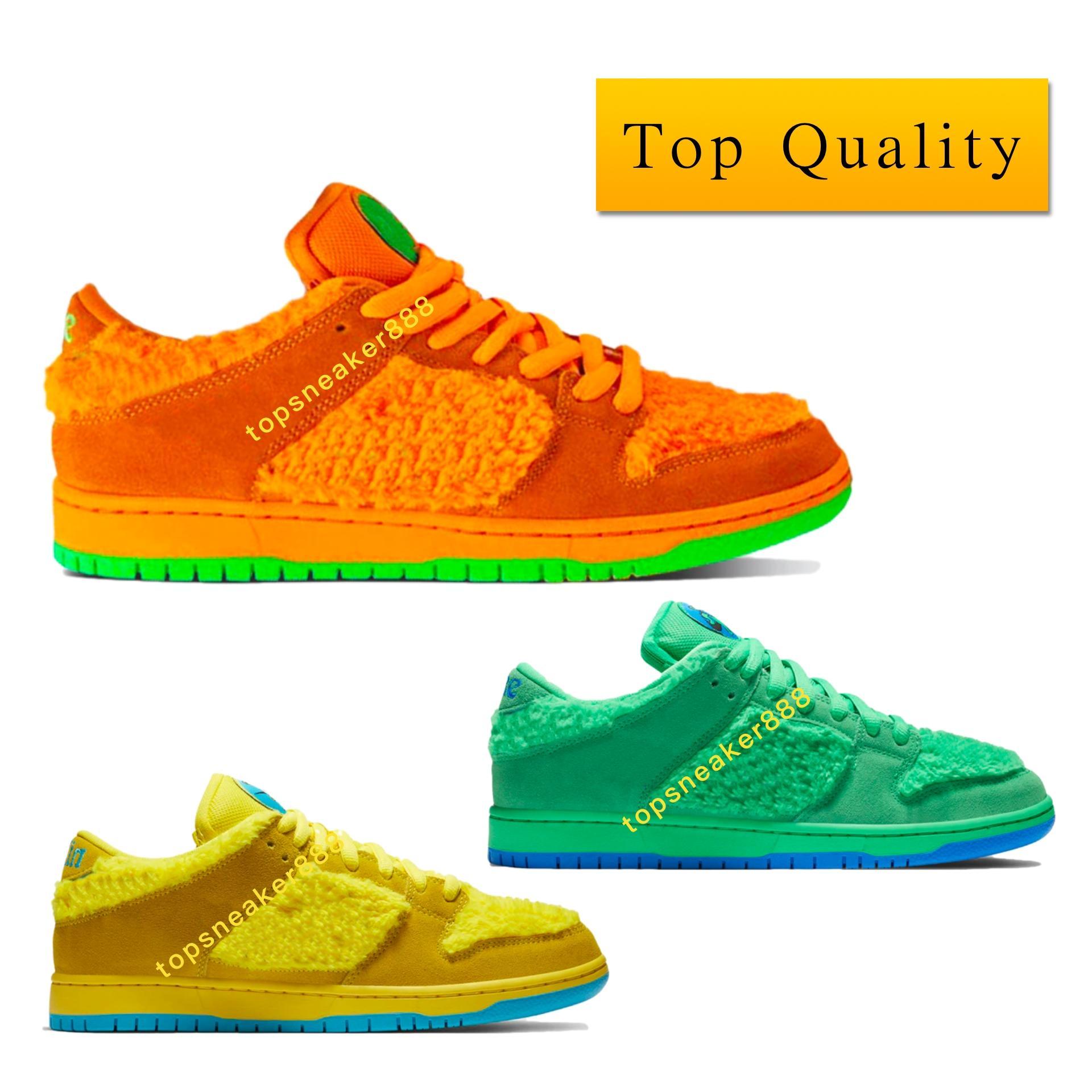 Mit Box 2020 Fashion Gelb Orange Grün Top-Qualität SB Dunk Low Grateful Dead Bears Orange Green Yellow sb dunk luxury designer shoes Schuh-Größe 36-46