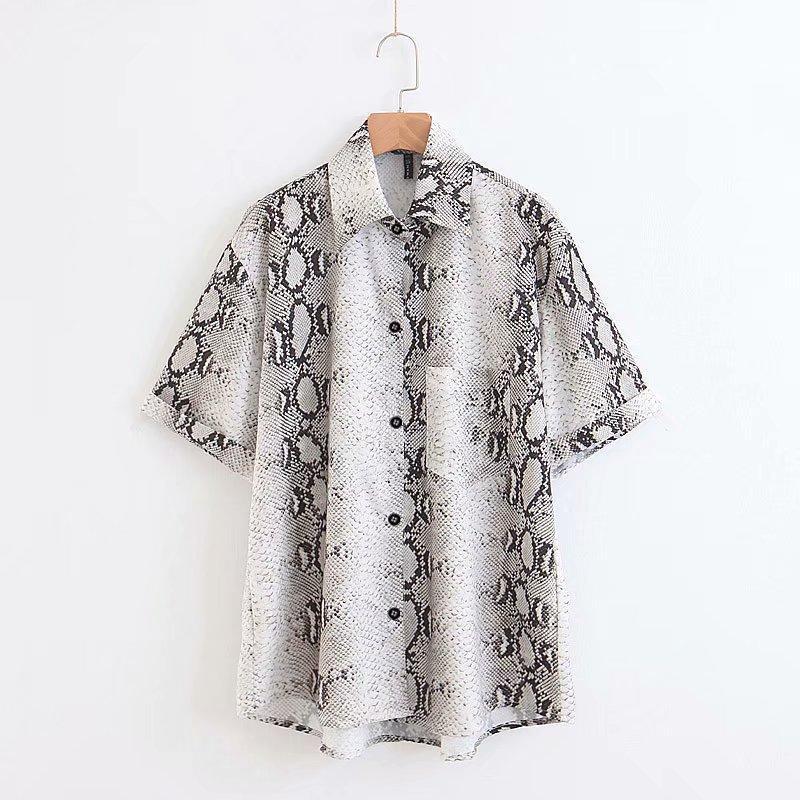 donne della camicia della camicetta delle donne vento di modo camicetta stampa serpente manica corta