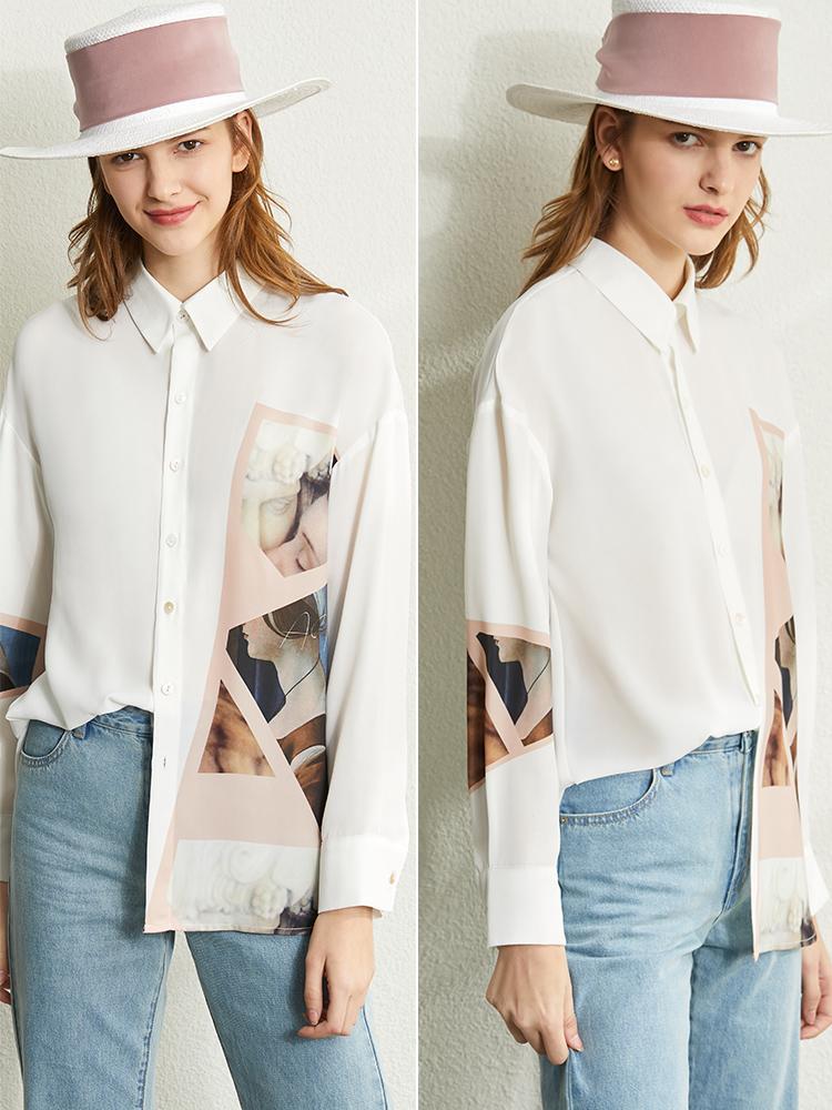 Vintage Chemise imprimée printemps femmes bras en mousseline de soie Revers Slim Fit long tops blouse de la femme