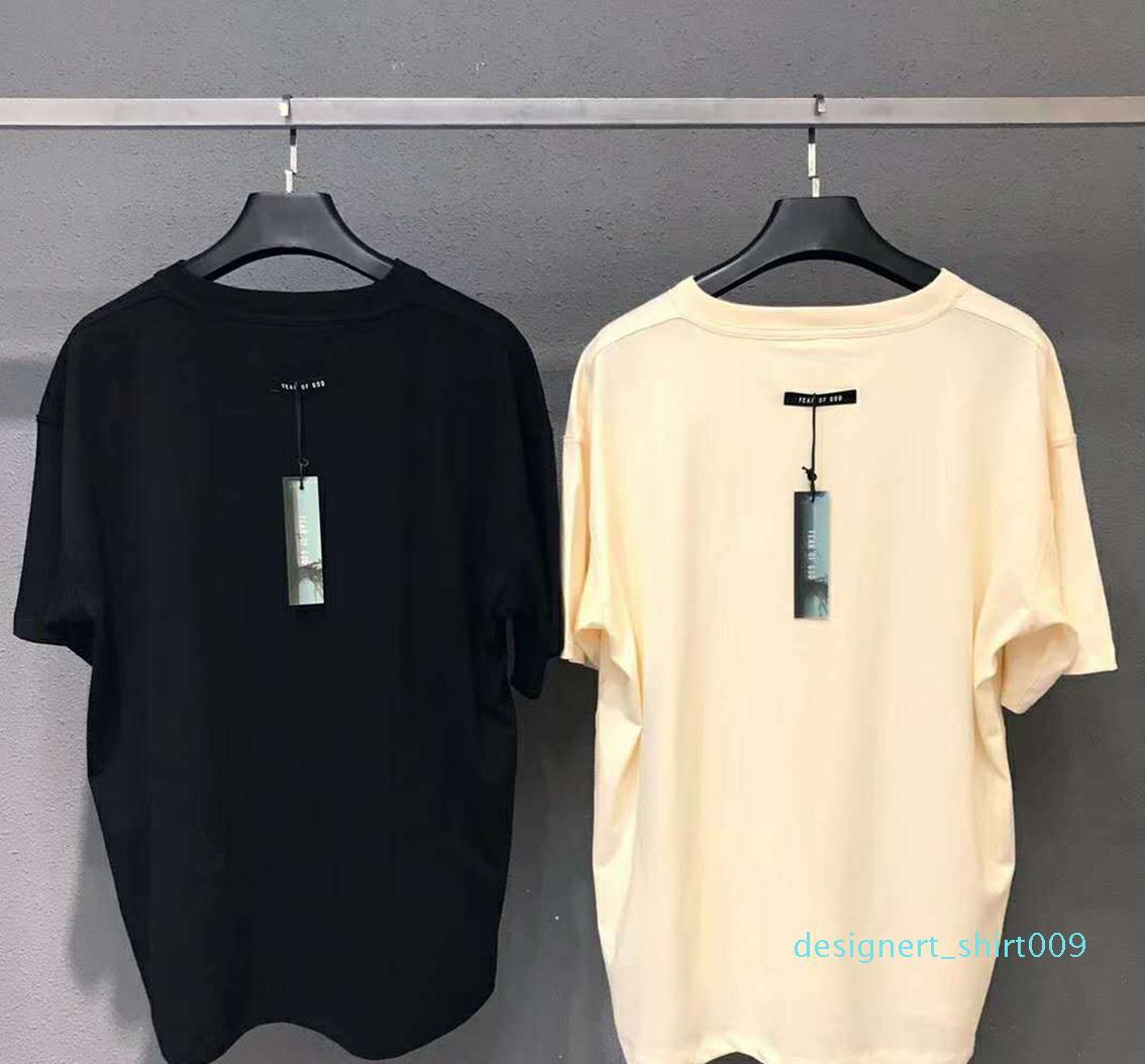 shirt do estilista para mulheres dos homens da luva da forma curta T-Shirt FOG Fear Of God Essentials Cotton T-shirt z1014U