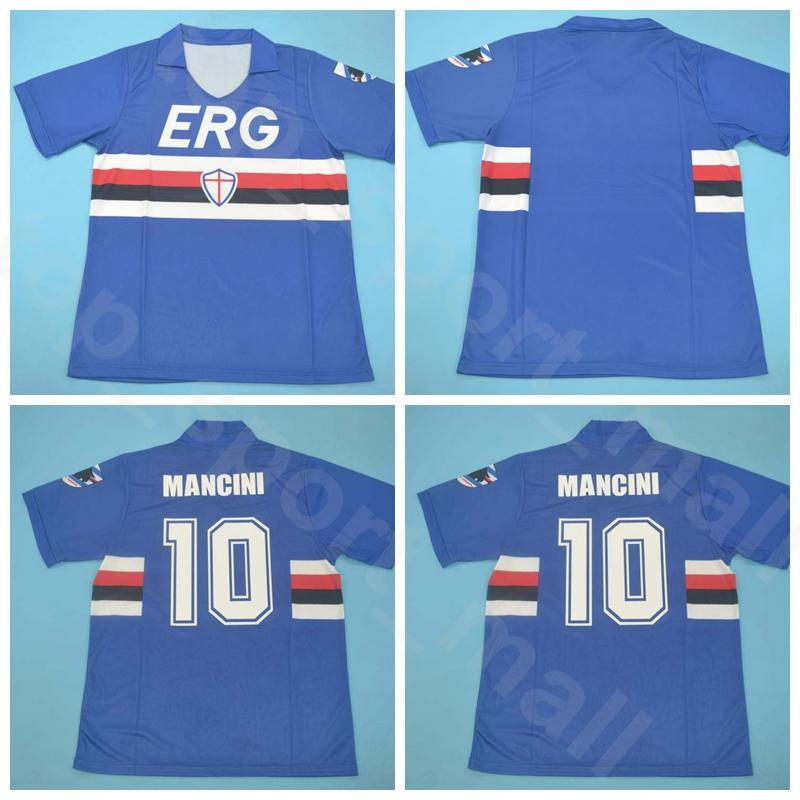 1990 1991 Futbol Sampdoria Retro Jersey 10 MANCINI 3 FERRI Vialli CEREZO Attilio Lombardo Mavi Ev Futbol Gömlek Setleri Boyutu S-XXL