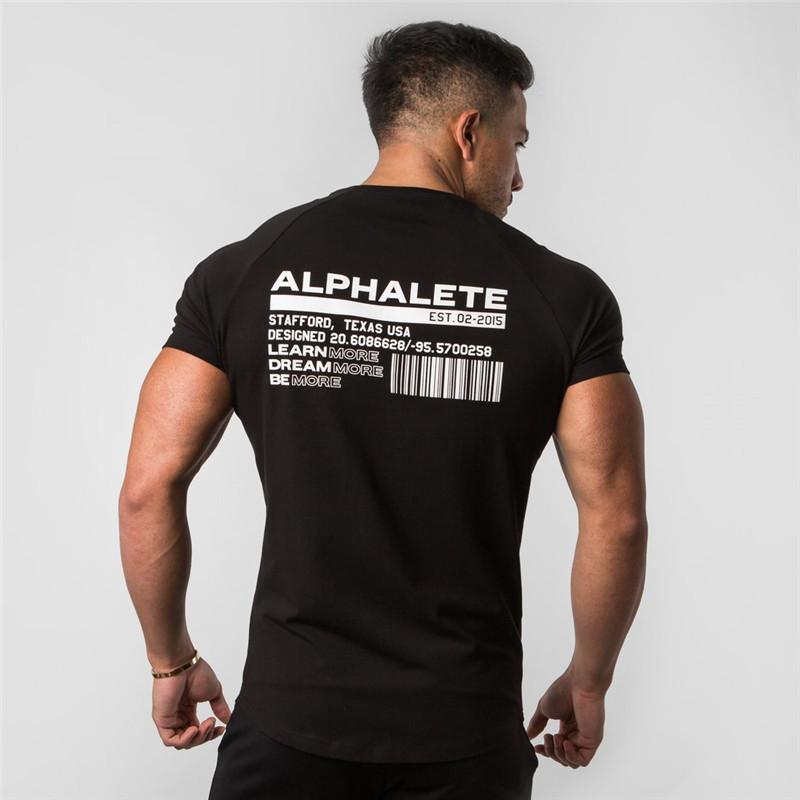 NUEVO MODA DE VERANO Alphalete Hombre Manga corta Camisetas Culturismo y fitness Gimnasios para hombre Ropa Entrenamiento de algodón Camiseta Hombres