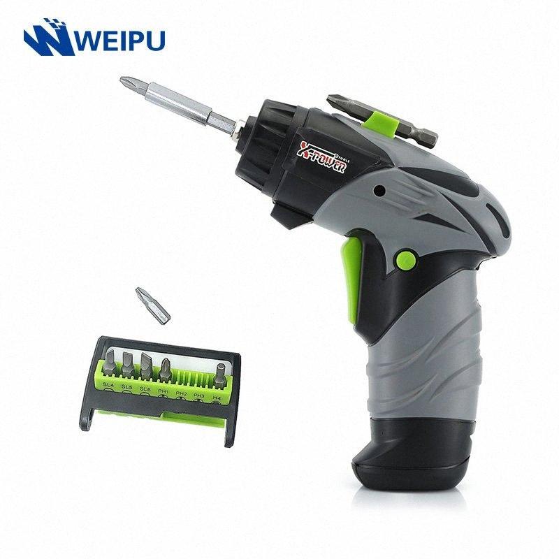Autista Mini elettrica senza cordone del cacciavite 6V batteria AA rotativi a vite con luce del lavoro del LED 8 pezzi bit per uso domestico Manutenzione UEp1 #