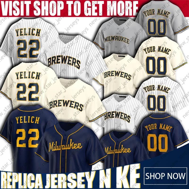 2020 Nouvelle saison Milwaukee 22 Christian Yelich Jersey 19 Robin Yount Maillots Brandon Woodruff Jersey Ryan Braun Lorenzo Cain Baseball