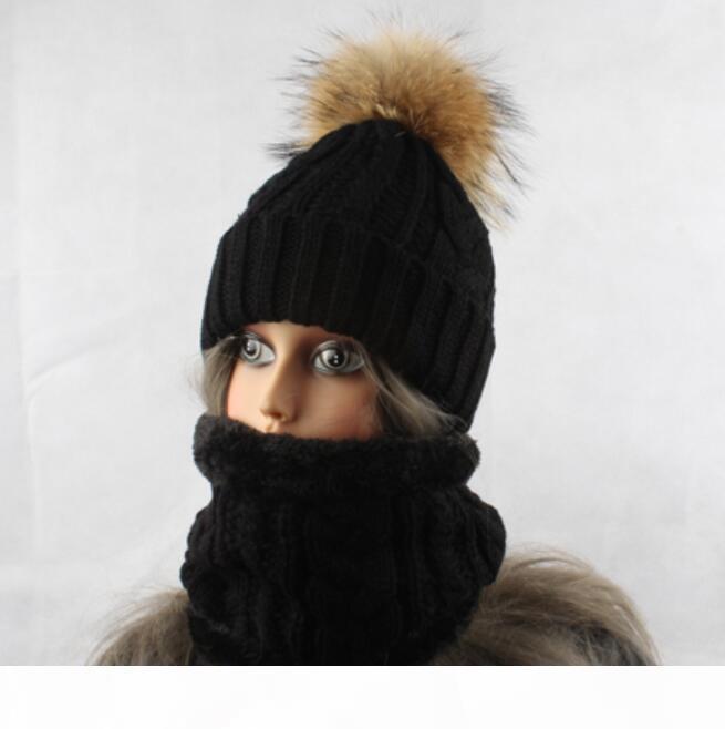 Inverno Cappello Sciarpa in pile per le donne del cappello di pelliccia Pompon Imposta Spesso lavorato a maglia cappello caldo e sciarpa fissa il trasporto libero