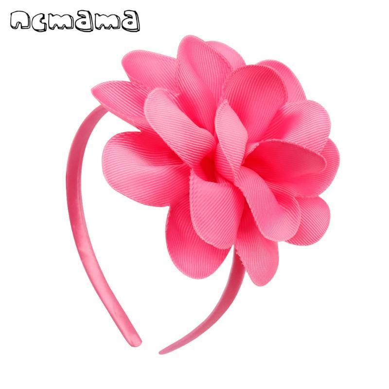 "Bandas Acessórios de cabelo ncmama cabelo para meninas Plastic Flower Big Bow Headbands 4"" Princesa Elastic Hairband"