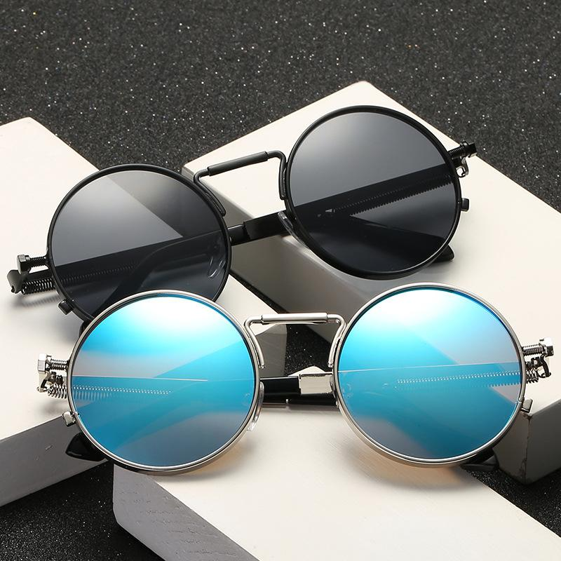 Tasarımcı Vintage Erkekler Güneş Kadınlar Retro Punk Stil Yuvarlak Metal Çerçeve Renkli Lens Güneş Gözlük Moda Gözlük Gafas 2020