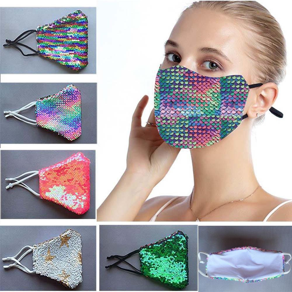 Fashion Bling Bling Sequin Maschera protettiva polvere antipolvere lavabile antivento riutilizzo viso maschera elasticizzato in prima qualità