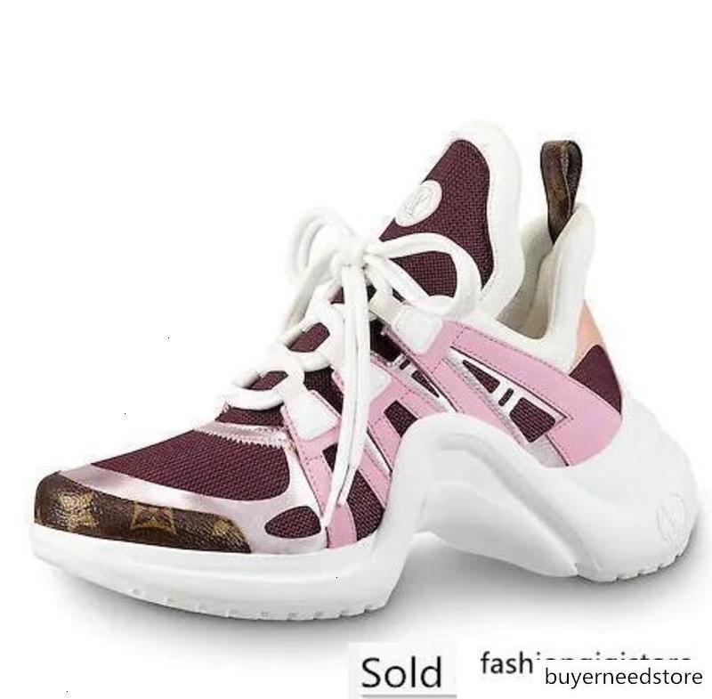 Erkekler Kadınlar Harf Çiftler Ayakkabı Mesh inek derisi şarap Casual spor ayakkabılar ARCHLIGHT Sneaker 35-44 kırmızı