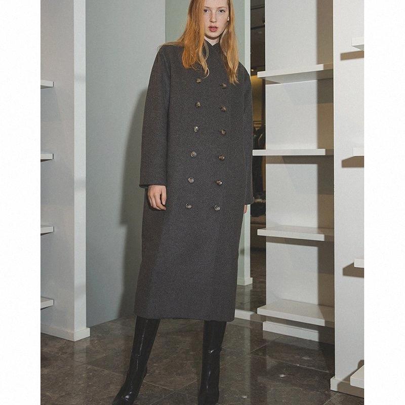 Gris Negro mezcla de lana Fosa de gota de la capa larga de las mangas del hombro delantero Doble -breasted botones bolsillos laterales wXLr #