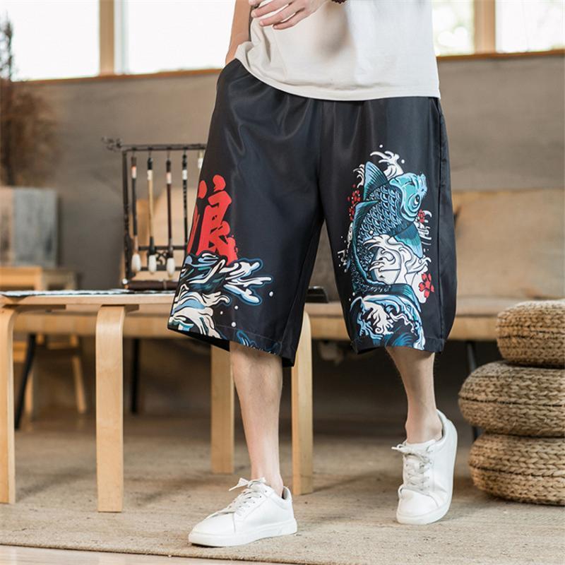 2020 pantalones del verano Ukiyo japoneses de la carpa de la vendimia inferior ancha de la cadera pierna del pantalón harén masculino retro salto masculino Sweatpant pantalones más el tamaño