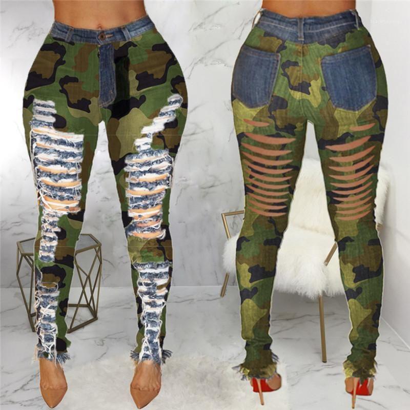 Kamuflaj Baskılı Orta Bel Kalem Pantolon Moda Sokak Stili Bayan Giyim Bayan Jeans Delik Ripped