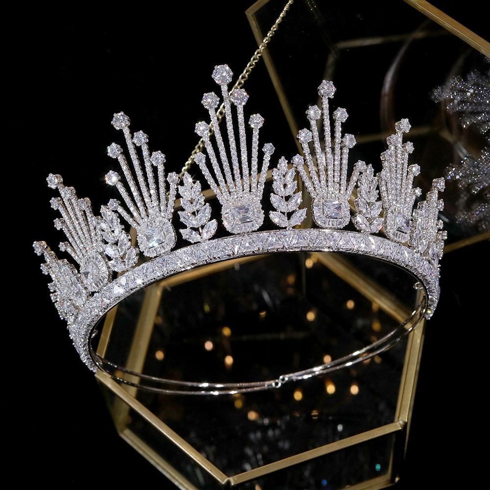 Высококачественные аксессуары роскошных волос для короны невесты свадебных аксессуаров для волос женщин Уникальной свадебными цветок элемент диоксида циркония