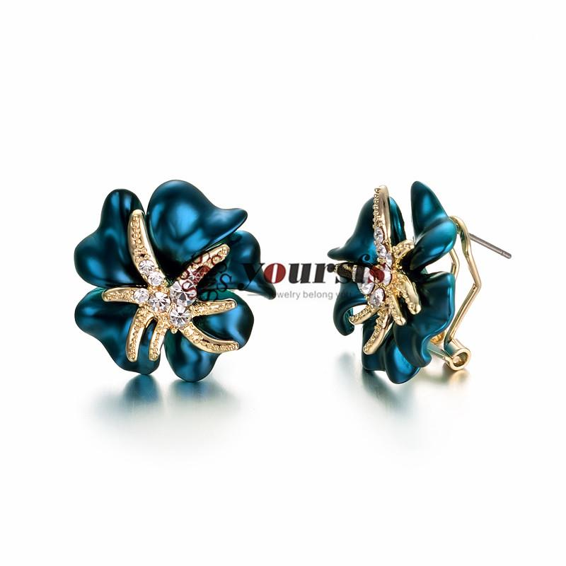 Yoursfs elegante mode bule österreichische kristall ohrringe trendy edel 18k rose gold plattierte blaue blume stud simulierte diamant frauen