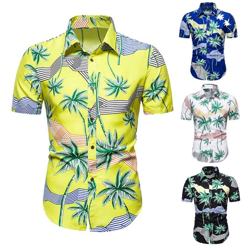 Новый короткий рукав цветок рубашка Hawaiian цветка рубашки мужские с коротким рукавом