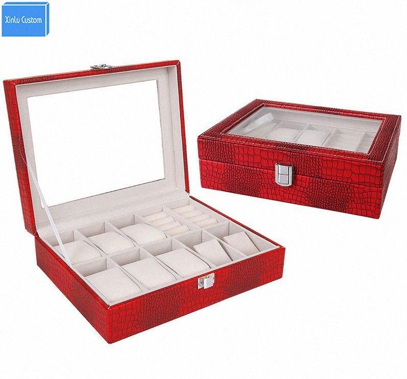 Boîte de gros pour les bijoux / montres / Bracelet / Bague Femmes / Hommes Leopard cuir Boîte StorageDisplay Montres Hour Cases Emballage cadeau VCxp #