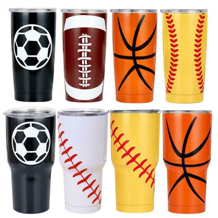 Baseball Travel Car Bier Vacuum Insulated Cups Doppel Edelstahl Tumbler Tassen Softball Basketball Footbal ALSK316 DHE31