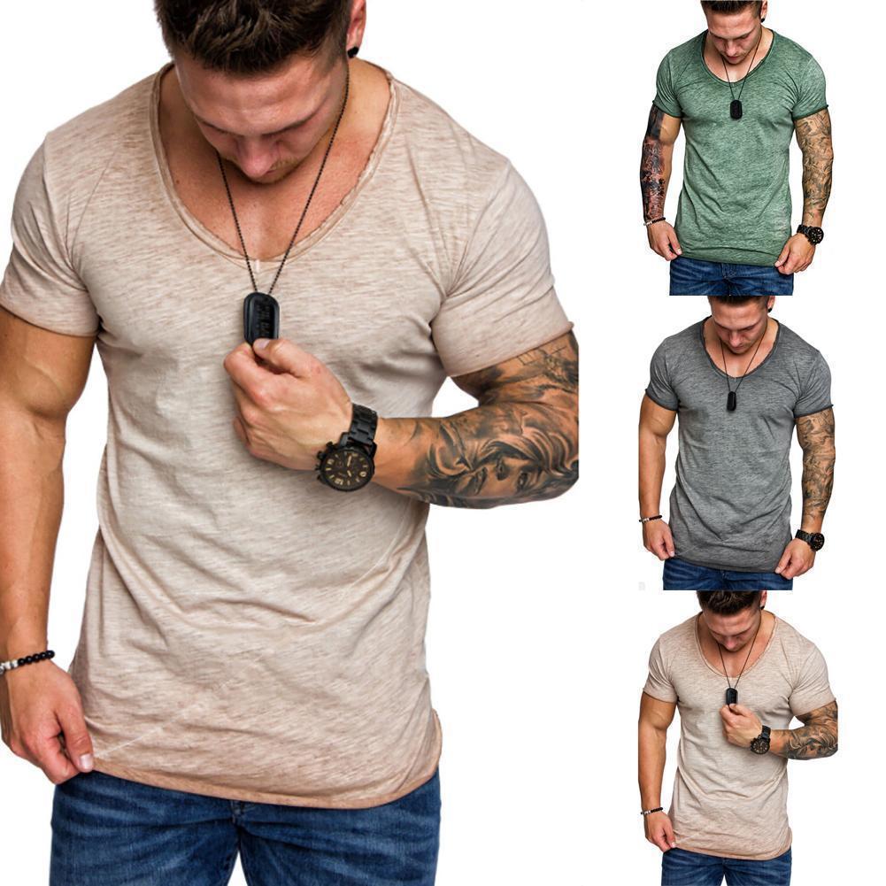 Erkek tişörtleri Yaz Kısa Kollu Günlük Moda Erkek V Yaka Spor Spor T shirts