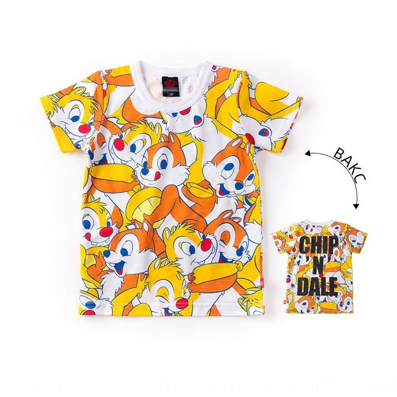 meninos de verão e meninas de banda desenhada T- bebê padrão de marca d'água camisa T- casa camisa de mangas curtas metade de manga de algodão fina superior BD casa