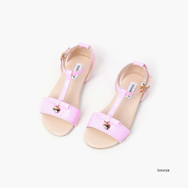 Новые летние детские модные повседневные сандалии девушки Трендовые печати сандалии