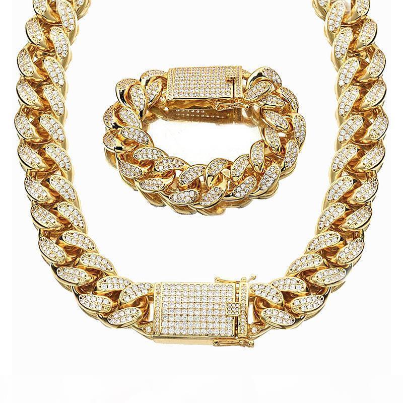 18mm Wider Hip Hop Hoch Glänzend Voll Zirkonia Haken Miami Cuban Link Halsketten-Armband Männer Frauen ICED OUT Bling Schmuck Sets poliert