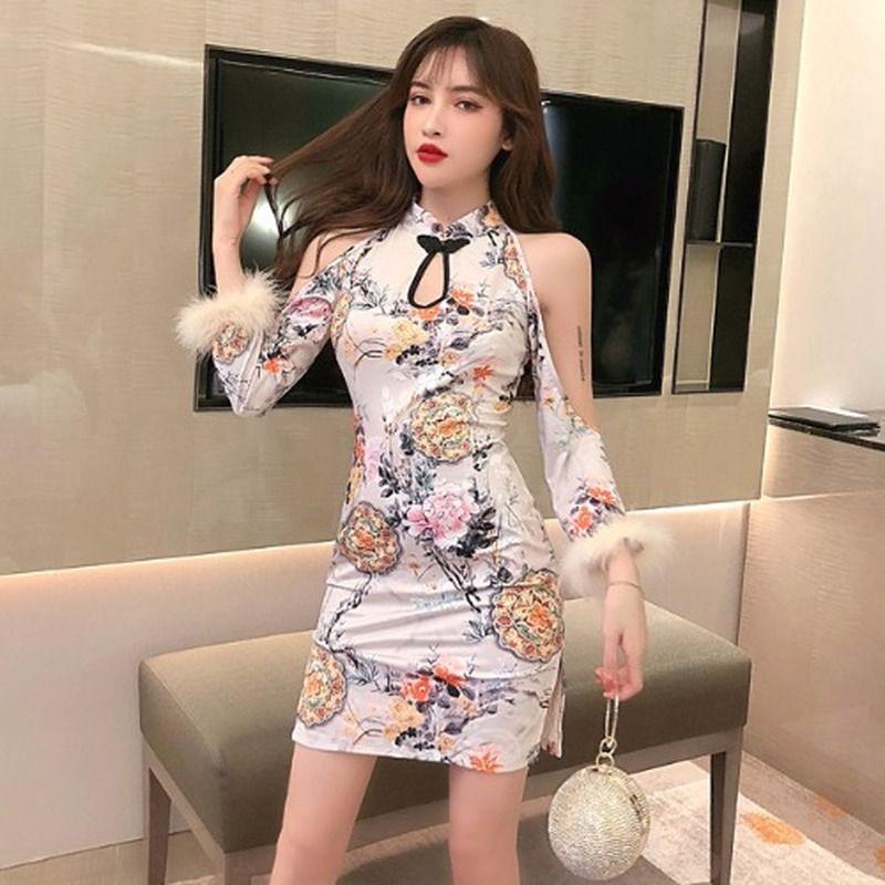 Элегантный ретро Qipao Winter Fur ретро Cheongsam корейской моды женщин сексуальное свадебное платье партии Китайский Новый год Восточный Одежда