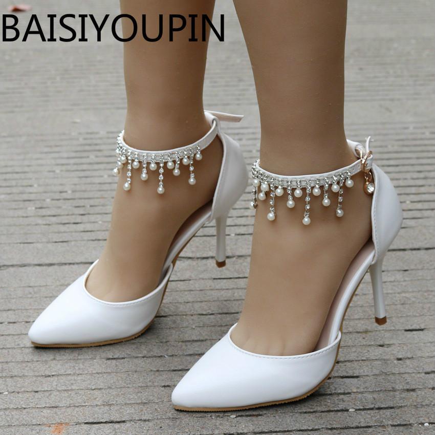 White Strass Quaste wulstige Braut-Schuh-Frauen Große Größe 41 High Heels Sandaletten Thin Zipfel Schuhe Weibliches Kleid Brautschuhe