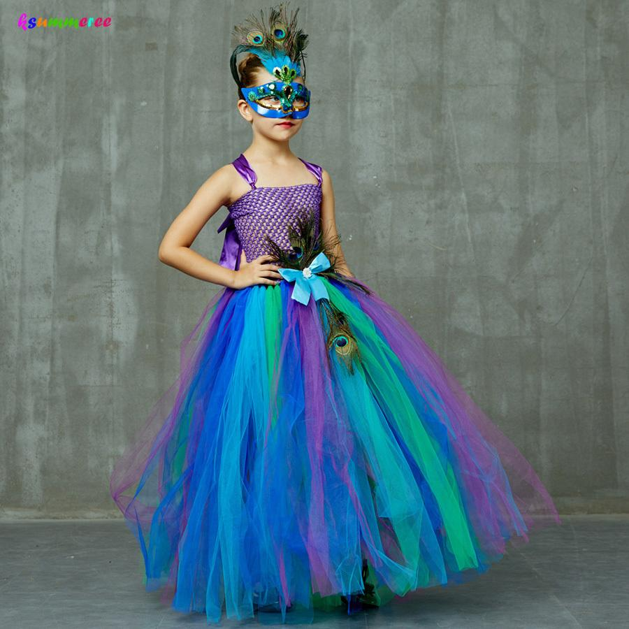 Flower Princess Peacock Costume for Girls Wedding Birthday Party Tutu Dress Kids Pageant Ball Gown Feathers Girl Tulle Dresses T200709