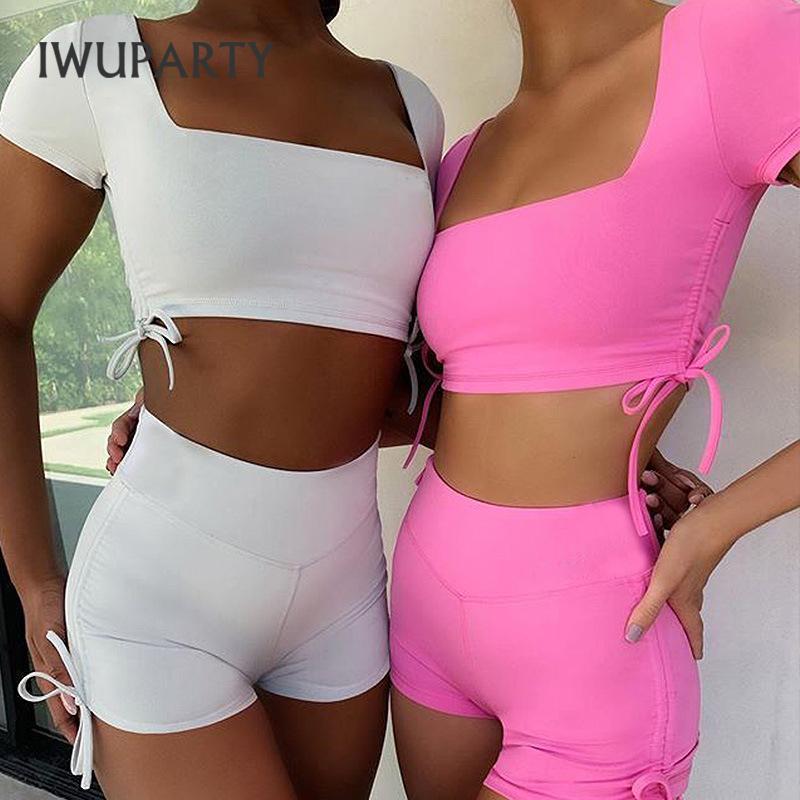 IWUPARTY insieme a due pezzi di colore della caramella coulisse Strap Bassiera E Motociclista Breve Sport Tuta estate delle donne di allenamento di ginnastica Outfit