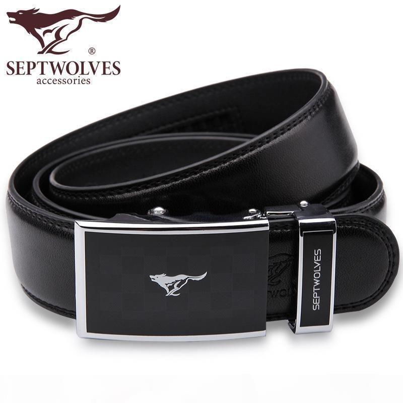 SEPTWOLVES رجل السقاطة أحزمة جلد طبيعي تلقائي أوتوماتيكي إبزيم الحزام الأسود للرجال 7A1102880 7A1103180 7A119106800